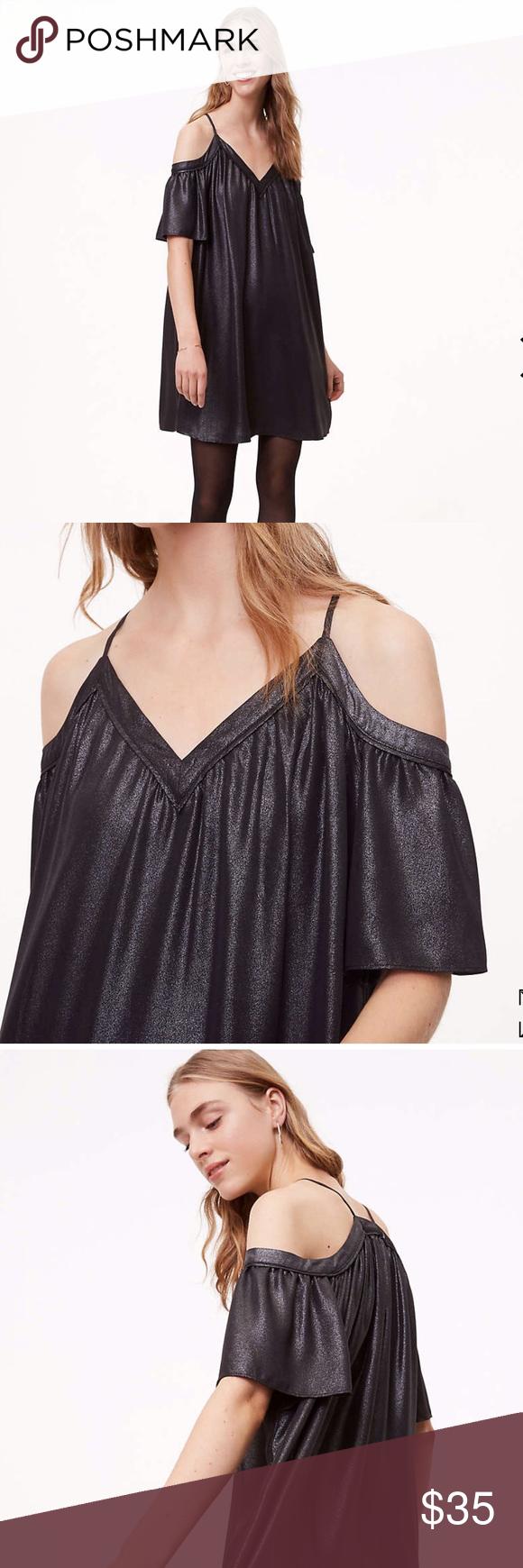5b135961e69 LOFT Black Shimmer Dress Cold-shoulder LBD for any occasion — causal or  fancy!