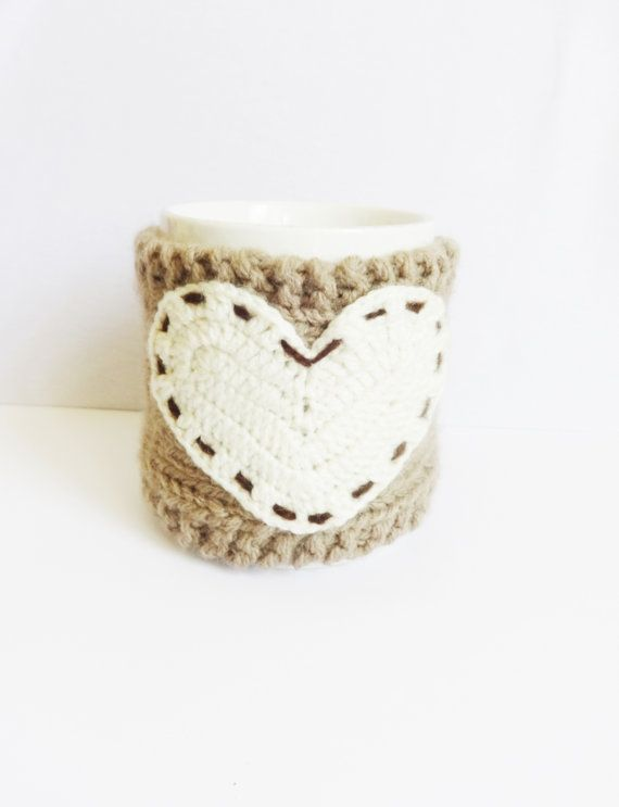 Knit Cup Knit Coffee Cozy In Ecru And Brown by CrazyButterflies ...