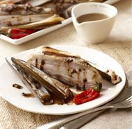Grilled Pork Belly with Razor Clams and Black Garlic Vinaigrette