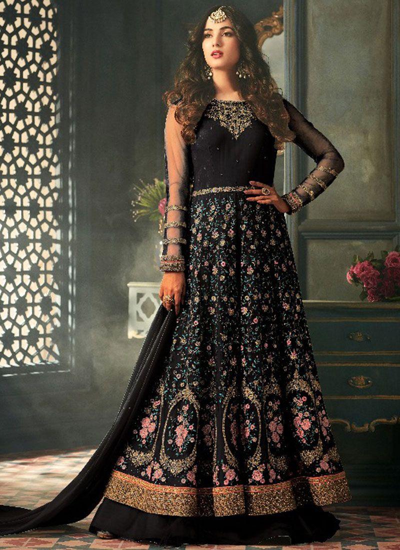 Black Embroidered Lehenga Style Anarkali   Dress ...