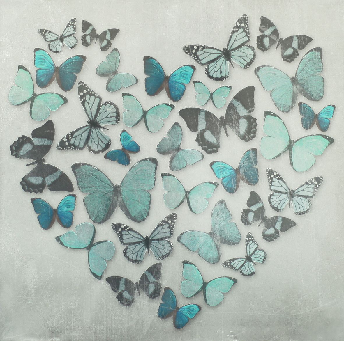 Butterfly Love Teal Superfoil Canvas   Arthouse Art   A Superfoil Printed  Canvas Image Of Butterflies In A Heart Shape   Coloured Teal Blue Green  With A ... Part 57
