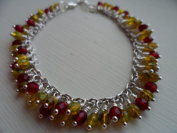 Original Czech bead charm bracelet by tcupcreations on Etsy, $25.00