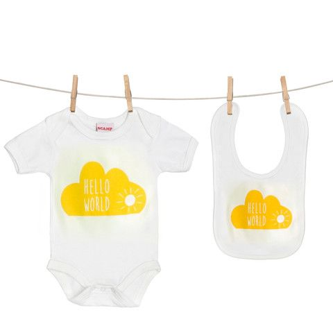 Hello World Cloud baby grow  and bib gift set from www.wearescamp.co.uk £26