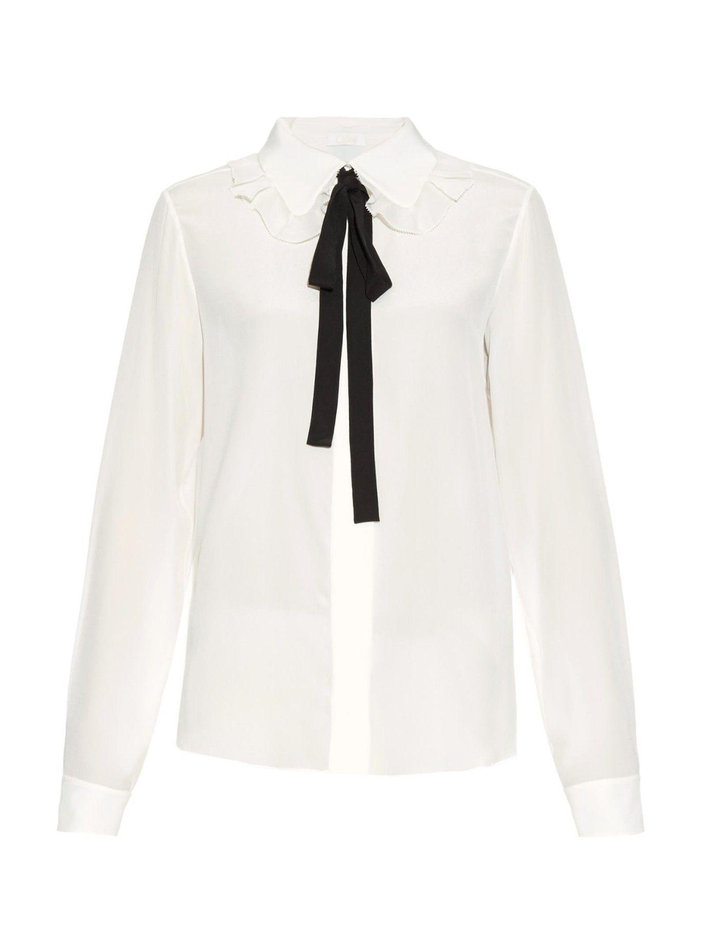 ddc1de520a3bea Ruffled-collar silk shirt by Chloé | Shop now at #MATCHESFASHION.COM ...