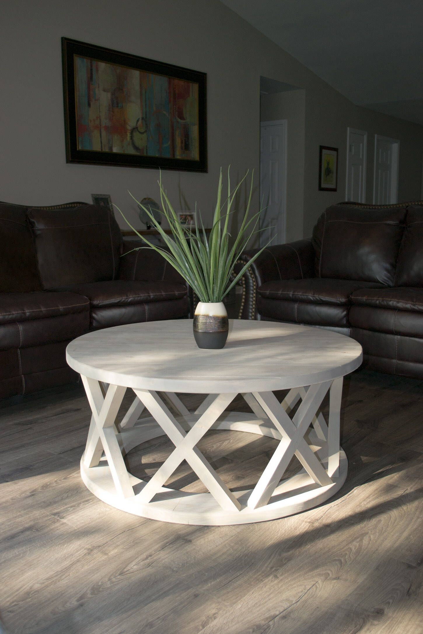 40 Round Rustic X Brace Coffee Table Farmhouse Style Coffee Table Decor Furniture