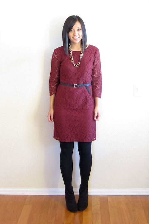 Image result for burgundy lace dress with ankle boots