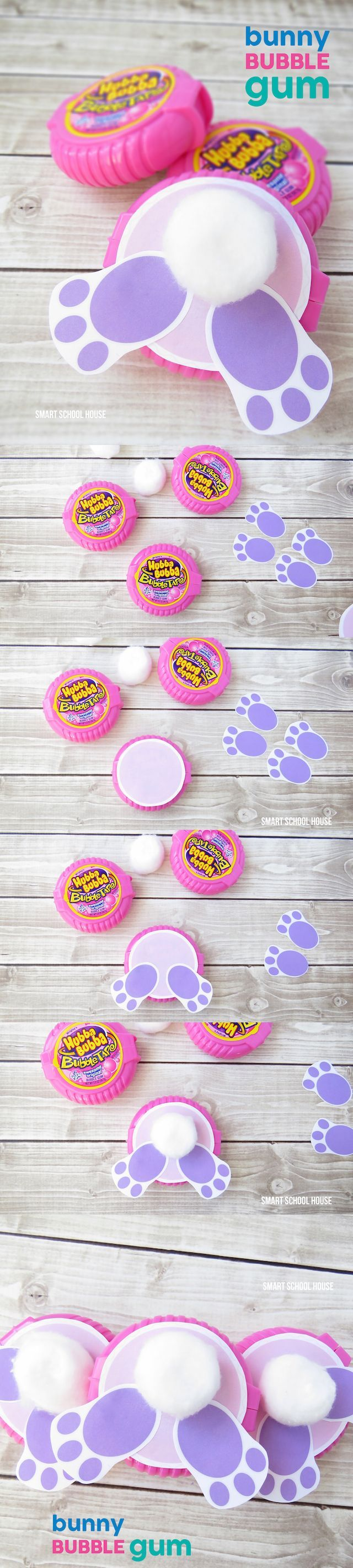 How to make bunny bubble gum using bubble tape gum a cute diy easter baskets negle Choice Image