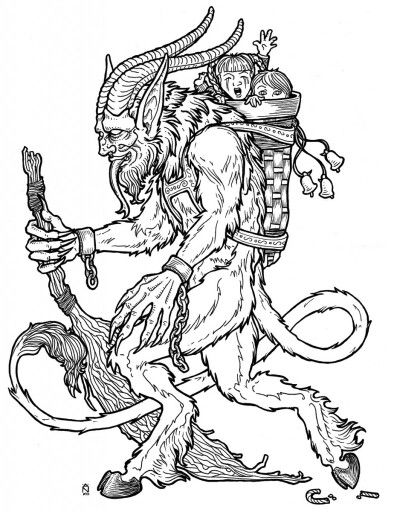 Krampus Template I Am Strongly Considering Getting This Lmao Xd Krampus Creepy Christmas Coloring Pages