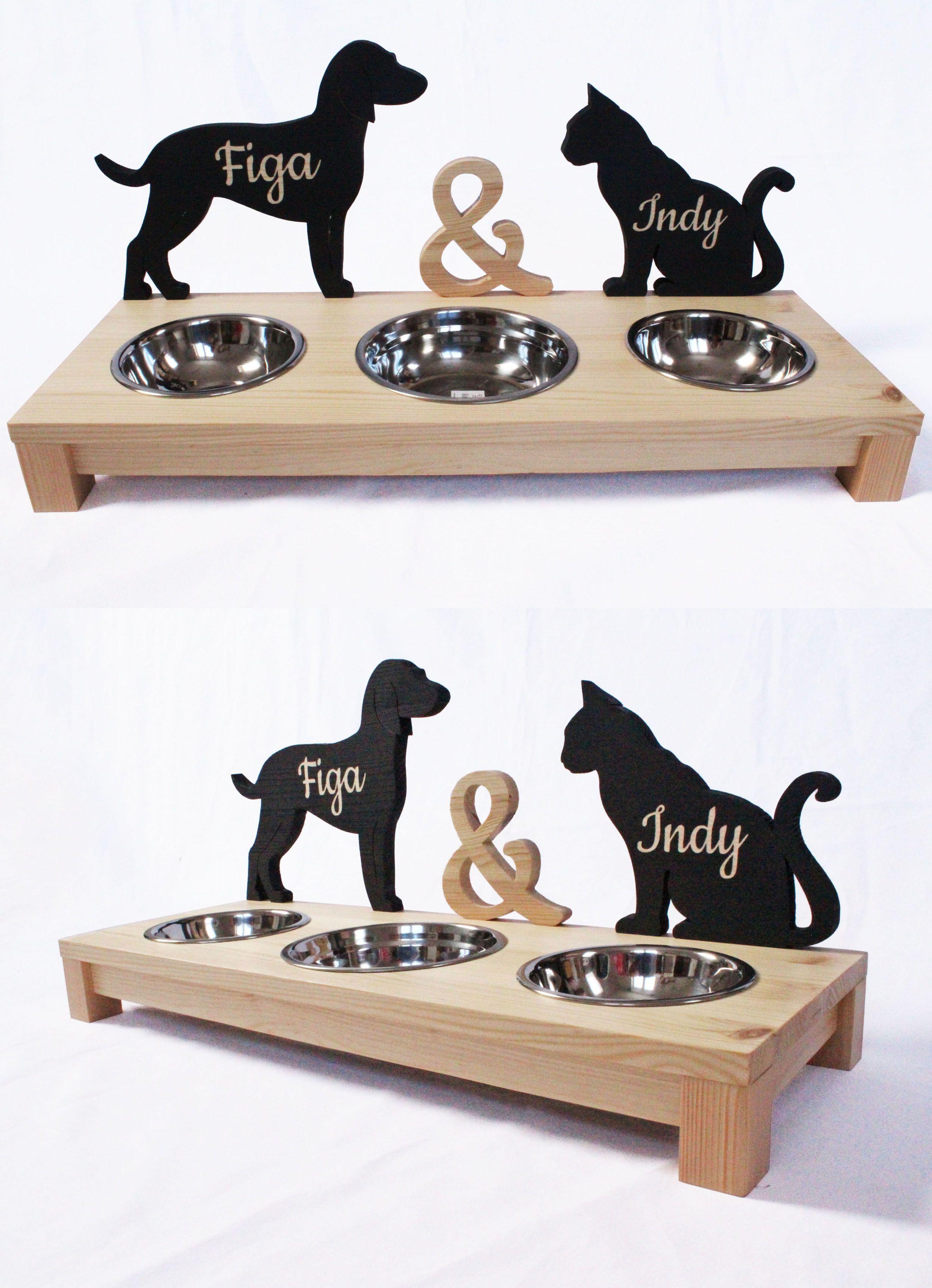 Personalized Dog Cat Feeder Personalizowany Bufet Dla Psa I Kota Dog Person Cat Feeder Dog Cat
