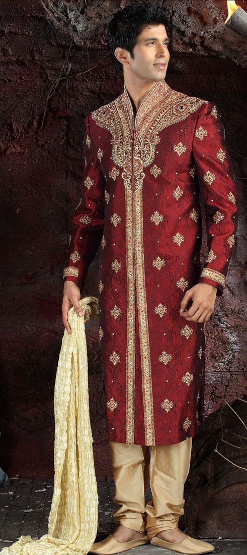 Brocade Sherwani In Red And Maroon With Border Work Indian Bridal Dress Traditional Indian Outfits Sherwani