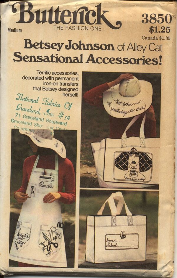 Butterick 3850 A Misses' Apron, Tote Bag, Hat & Iron-On Transfers