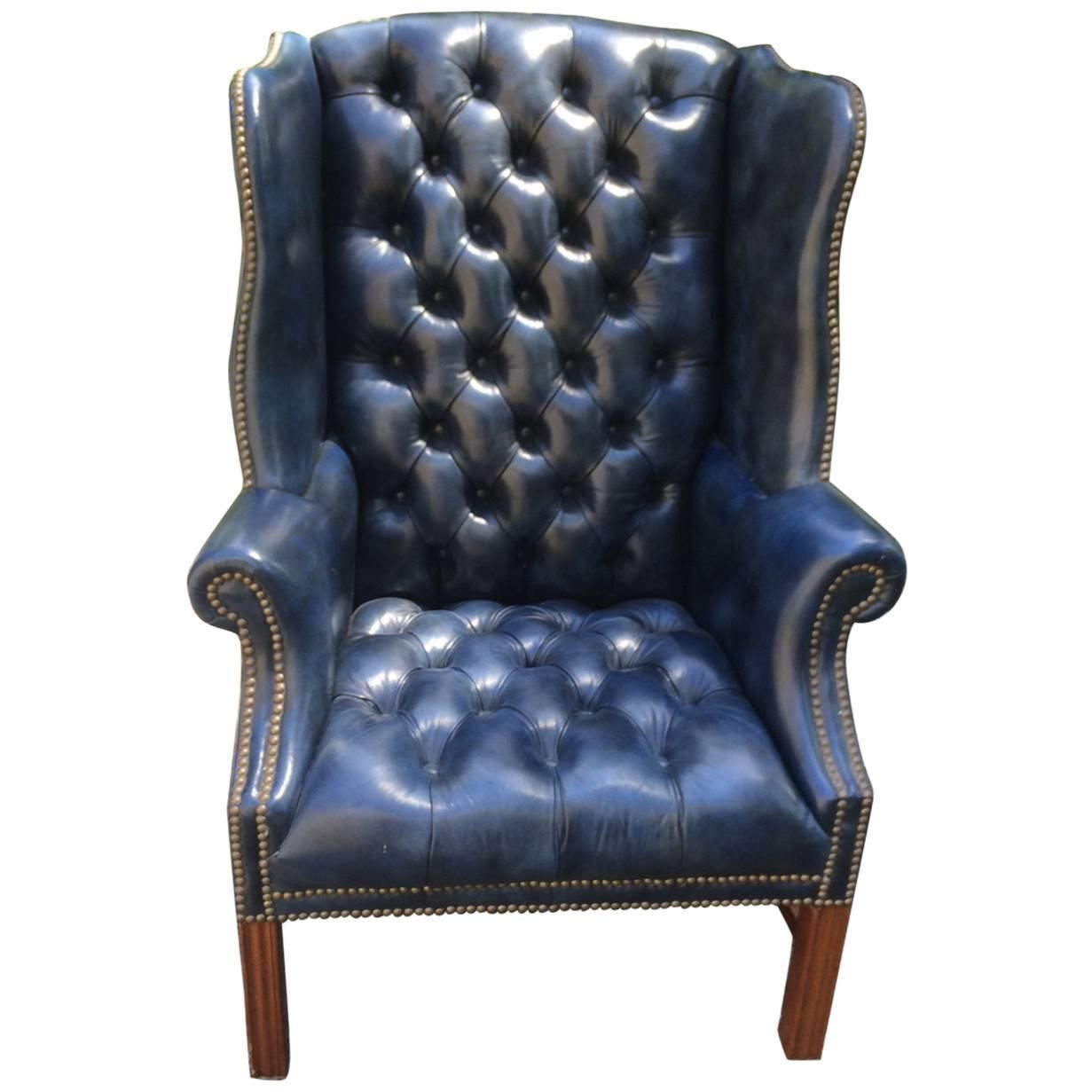 Fabulous Navy Blue Leather Tufted Wing Chair  decadent