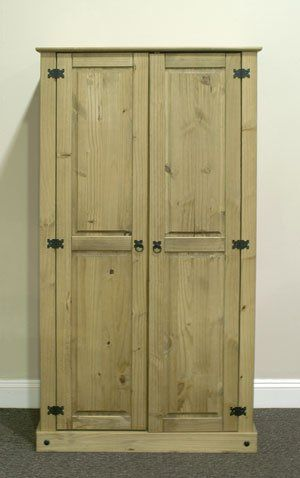 Contemporary High Quality Corona 2 Door Wardrobe Solid Pine Mexican Style Prima Furniture Amazing -  Solid Wood Closet Doors Amazing
