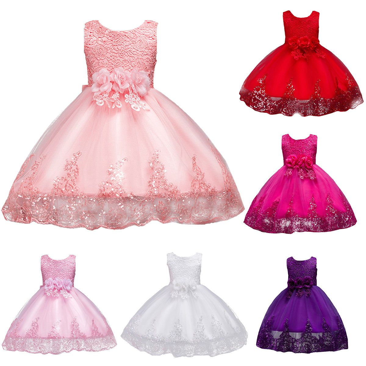 Toddler baby girls princess dress flower girl wedding pageant party