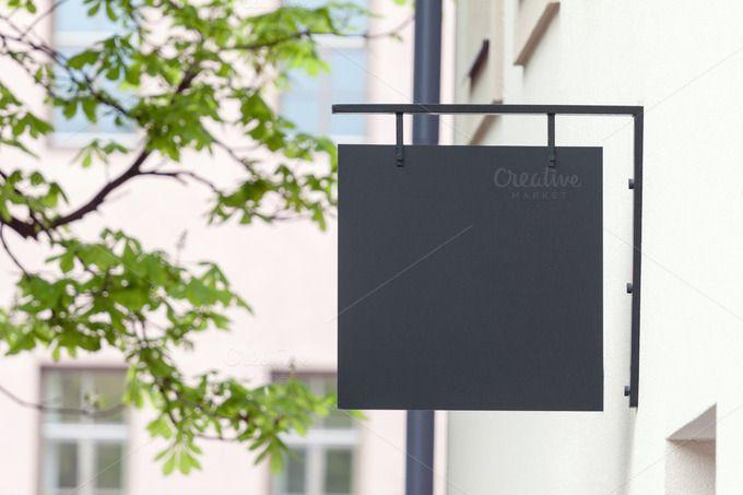 Download Black Empty Signage Mockup Business Signs Outdoor Signage Glass Signage