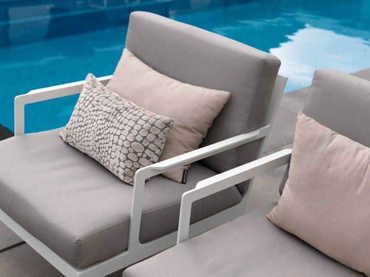 SEVILLA Lounge Garten Sofa 2 Sitzer Weiß Textilene Taupe Garten   Garten  Lounge Gunstig