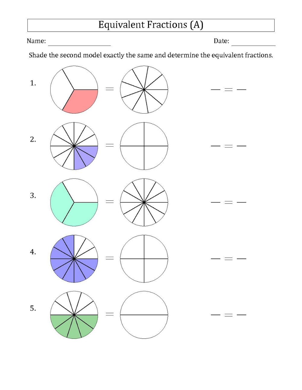 Math Fractions Worksheets in 2020 Fractions worksheets