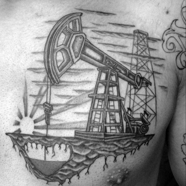 40 Oilfield Tattoos For Men - Oil Worker Ink Design Ideas ...