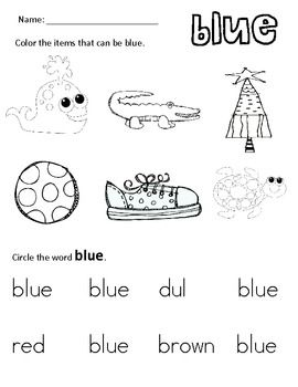 I Know My Colors Preschool learning activities