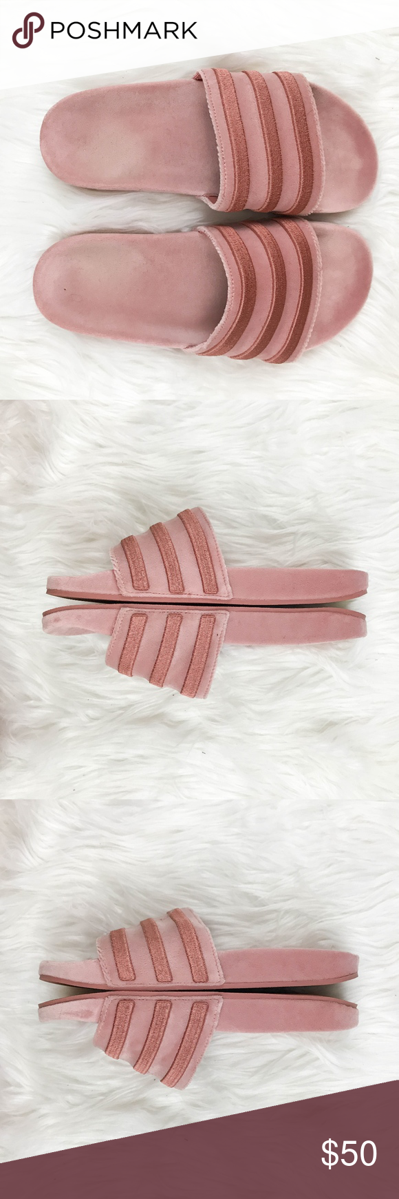 c7a5092f384 Adidas Originals Drops Slides Sz 9 Raw Pink Velvet Adidas Women s Originals  Drops Slides Size 9