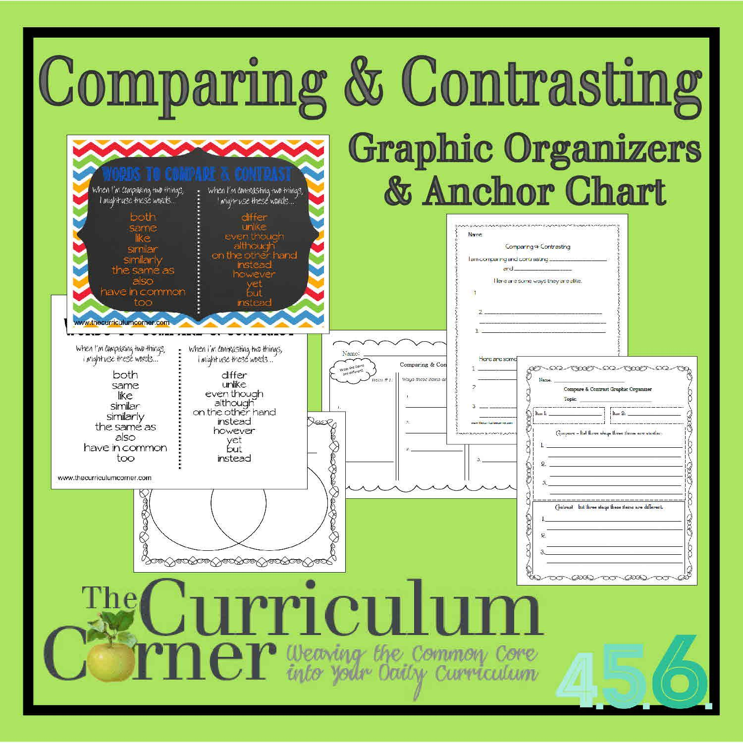 Comparing Amp Contrasting Writing Anchor Chart Amp Graphic Organizers