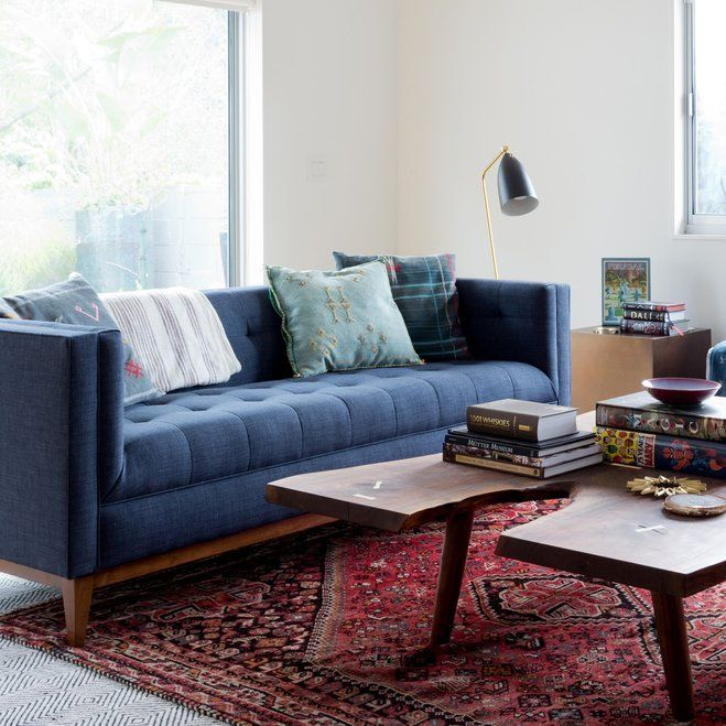 mid century modern design georgeous new style in also  love this blue sofa with the red persian rug living room done