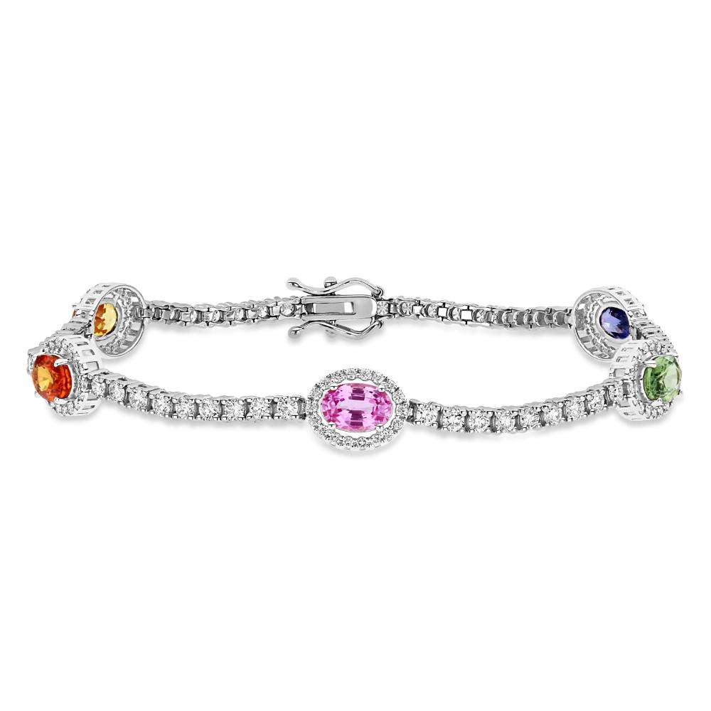 Natural multi  Bracelet Natural multi Jewelry Engagement Bracelet Brilliant Oval Cut multi