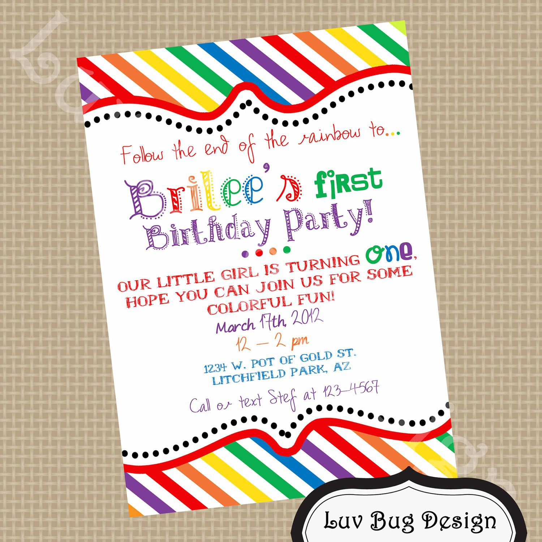 PRINTABLE Rainbow Birthday Party Invite- DIY printable party ...
