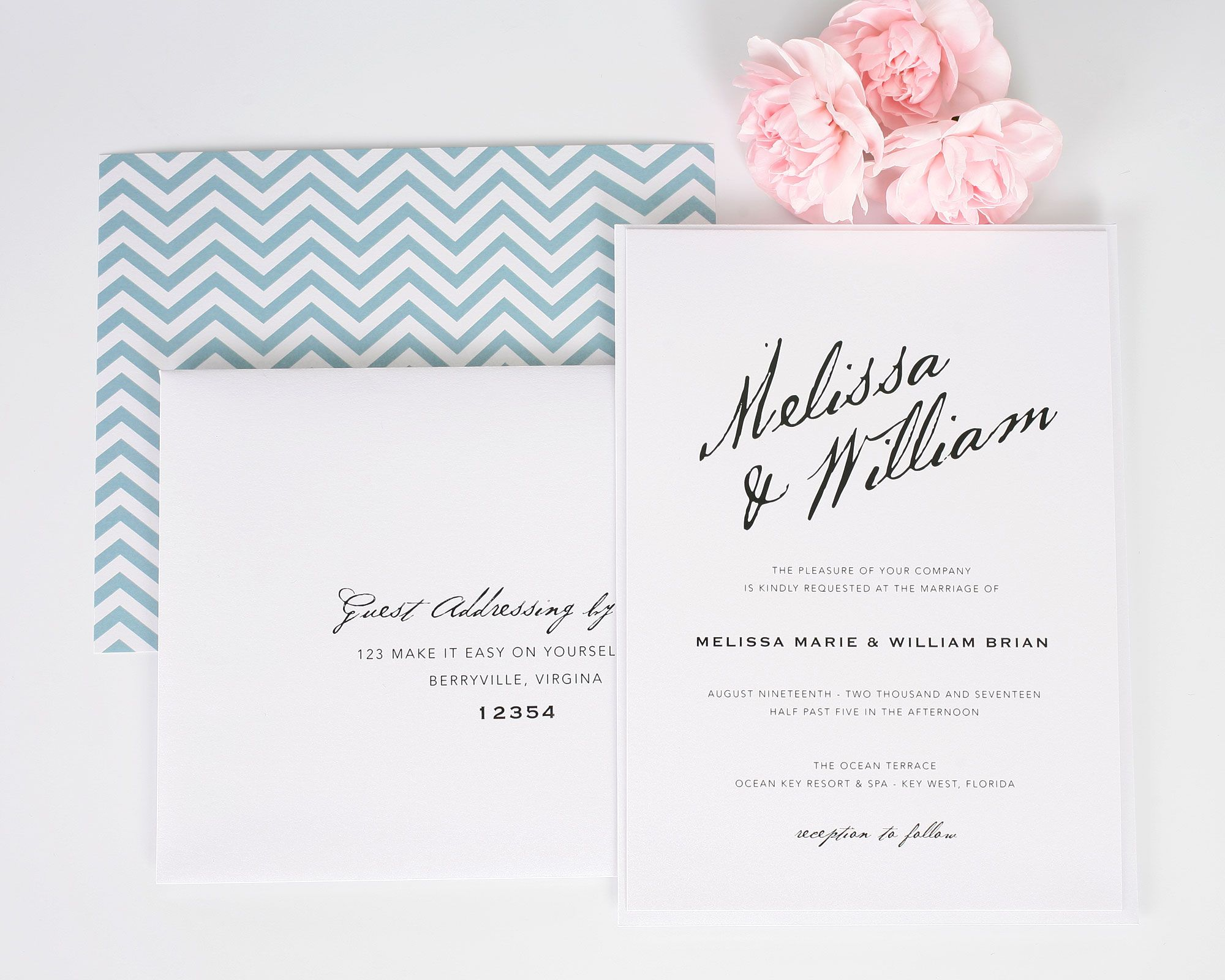 Modern Calligraphy Wedding Invitations Wedding