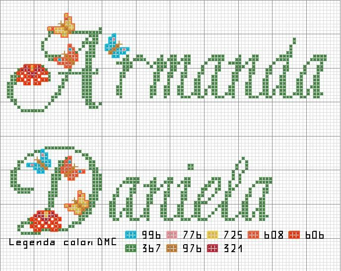 Armanda daniela con farfalline nomi richiesti con for Farfalline punto croce