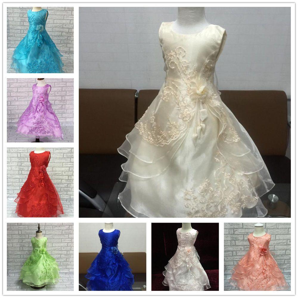 Flowe girls formal layered wedding dresses bridesmaid party dress