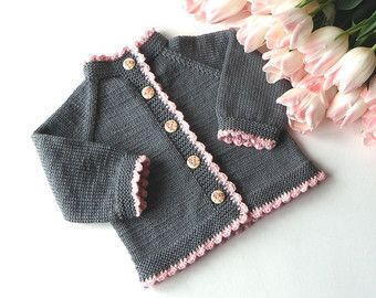 Knitting Jacket For Girl : Pink elephant sweater silver grey baby girl jacket by tuttolv