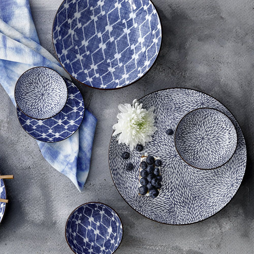 Update a table setting with this Shibori blue plate from