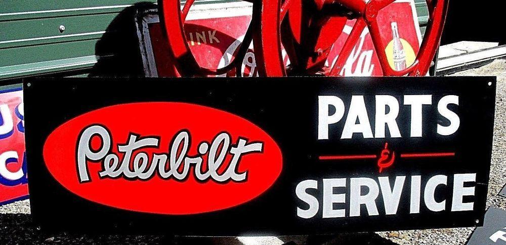 Vintage PETERBILT PARTS SERVICE sign Dealership Shop Garage