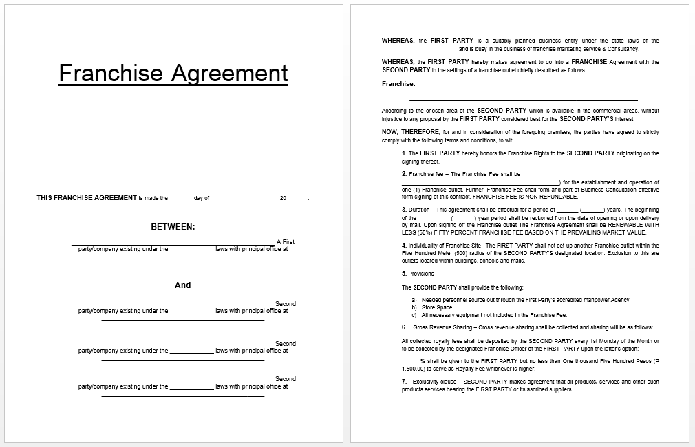 Franchise Agreement Template  Business Templates