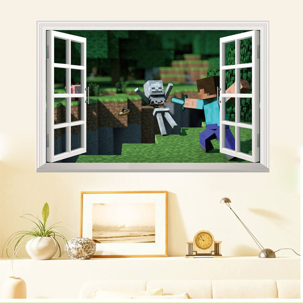 Minecraft 3D Window Wall Stickers #Minecraft