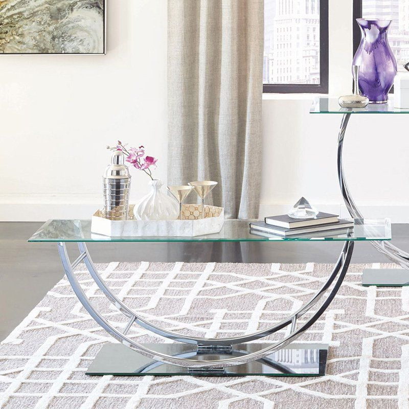 Coaster Furniture Glass Top Coffee Table With Chrome Base Coffee
