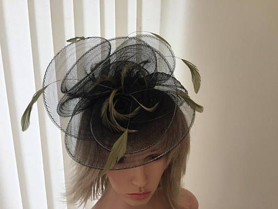 ba0a129bb4224 Black   olive green crin and feather hatinator weddings