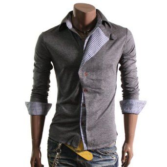 Doublju Mens Casual Checked Pattern Shirts(W04S) $28.99