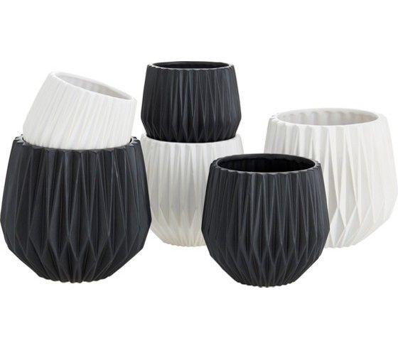 Übertopf aus Keramik in den Farben Schwarz und Weiß erhältlich.