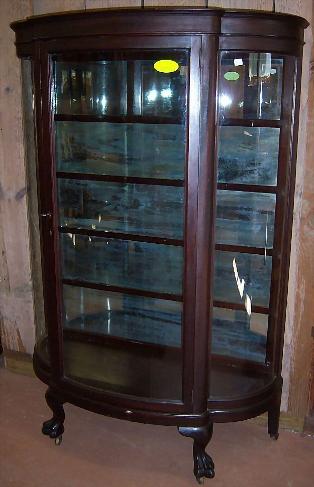 Antique Mahogany Curved Glass China Cabinet Claw by LightsAndMore | china  closet prices | Pinterest | - Antique China Cabinet Rounded Glass Antique Furniture
