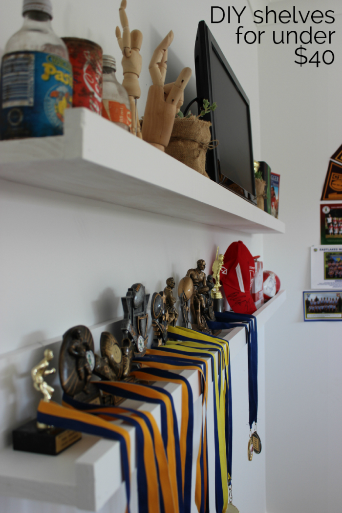 """DIY Kids bedroom shelves for less than $40 is part of Kids bedroom Shelves - Anyone can make these shelves for a kids bedroom, or even your own or maybe the bathroom! So many uses… Anyway, I did this project all by myself  So you can too  No cutting, nothing too hard  My husband took one look at the backyard and said """"can you stop making !"""" He's only joking, he …"""