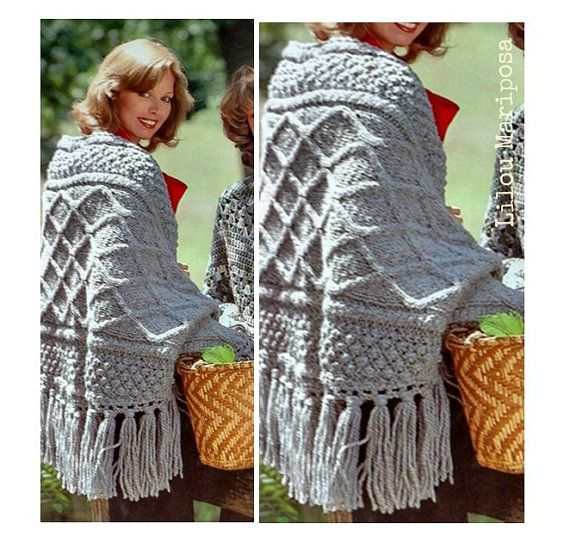 Shawl Pattern Knitting Pattern Vintage 70s Irish Fringed Vintage