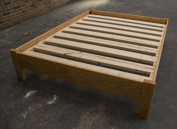 simple queen size platform bed frame american hardwood custom made in tennessee - Wood Bed Frame Queen