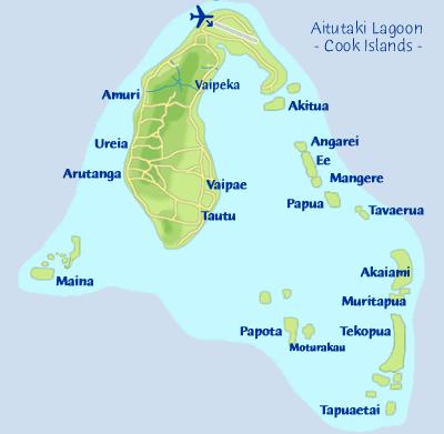 Rarotonga Cook Islands Aitutaki Aitutaki Island Information - Cook islands map