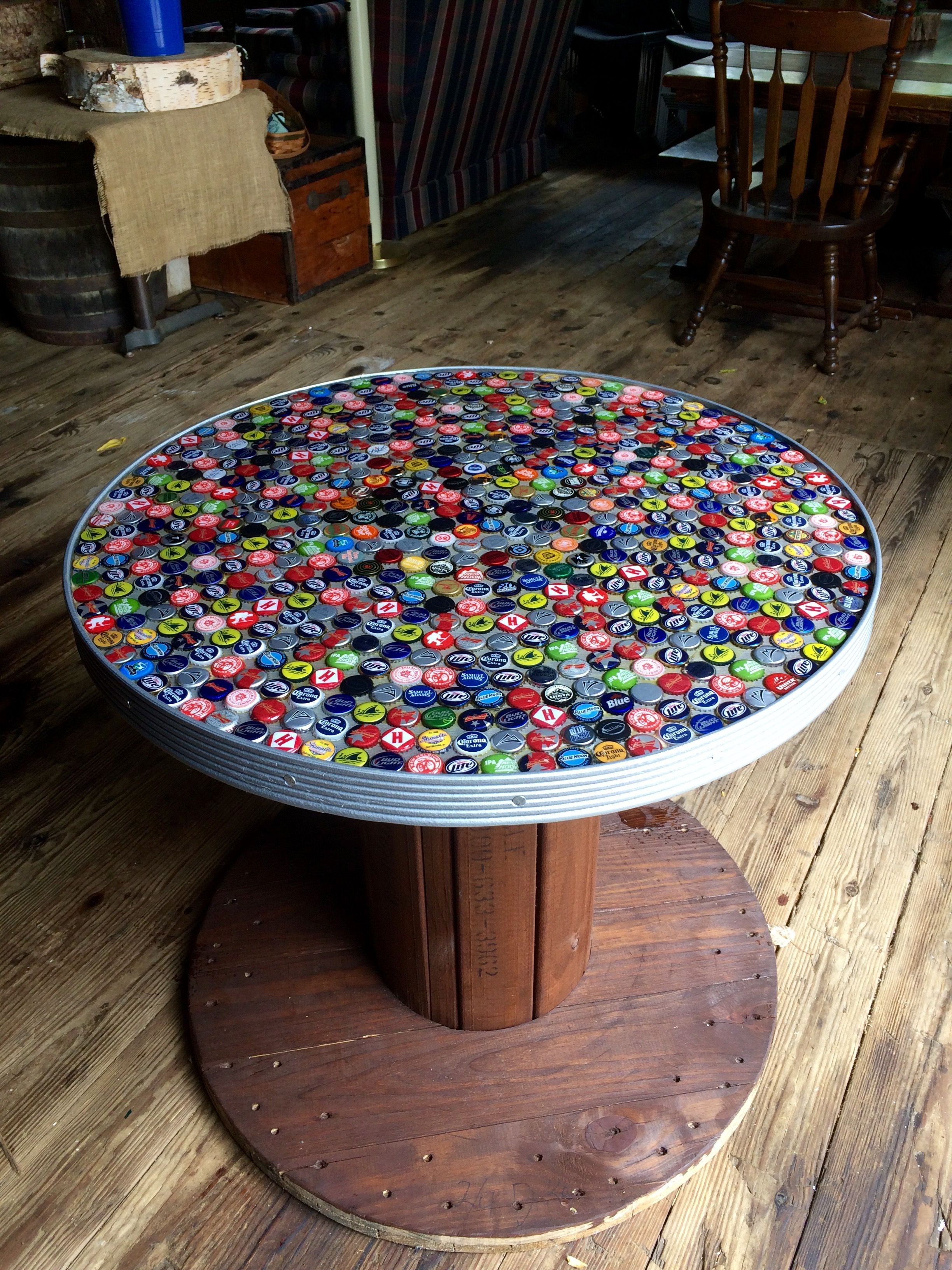 Beer Cap Table Barn Party In 2019 Spool Tables Wooden