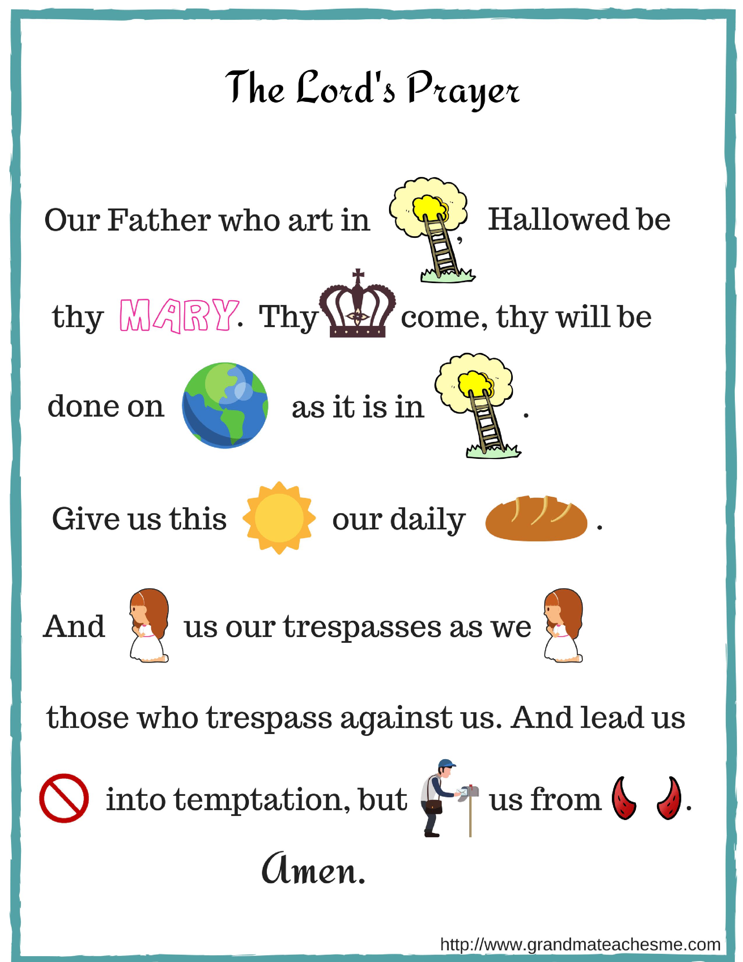 The Lord S Prayer Rebus Christian Preschool Sunday School Preschool Printable Activities [ 3300 x 2550 Pixel ]
