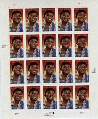 Hattie McDaniel 20 X 39 Cent Us Postage Stamps 3996 By USPS 989 THIS IS A COMPLETE PANE OF As Pictured