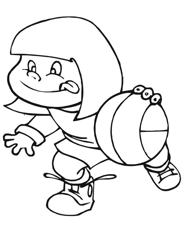 A Cute Little Girl Playing Basketball Happily Coloring Page Free