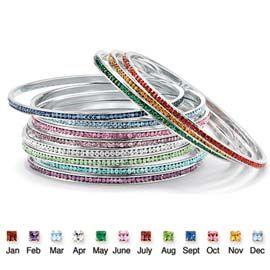 Silver Metal Birthstone Eternity Bangle Bracelet Jewelry